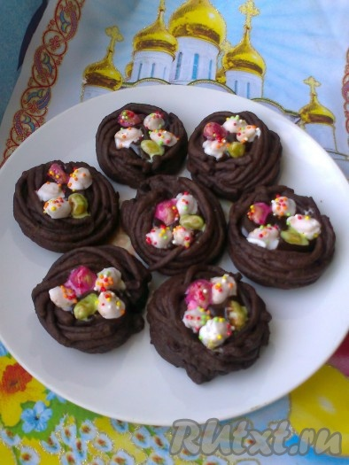 """Пасхальное шоколадное печенье """"Гнёзда"""""""