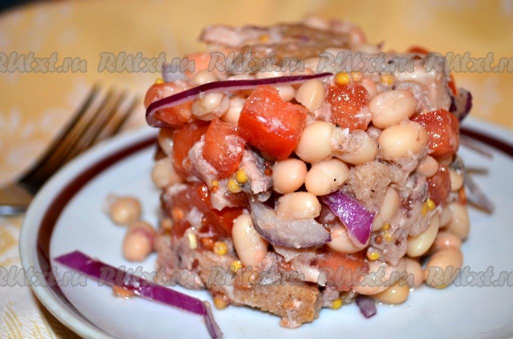 рецепт салат с фасолью и помидорами и сыром