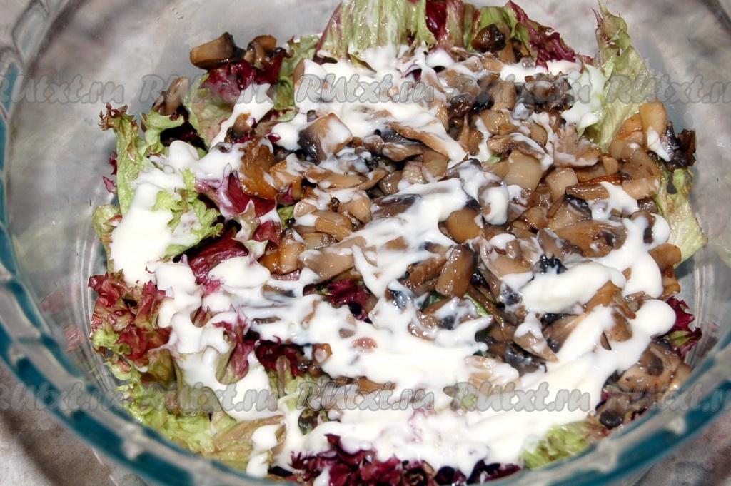 40Рецепты салата слоями с жареными шампиньонами