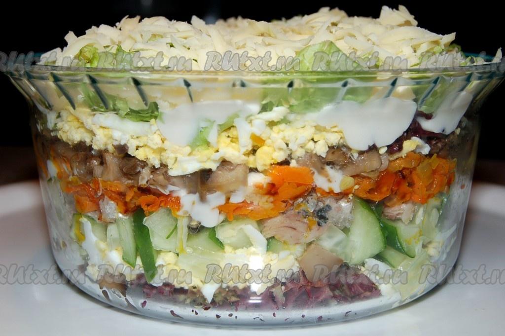 салат из жареных шампиньонов рецепт