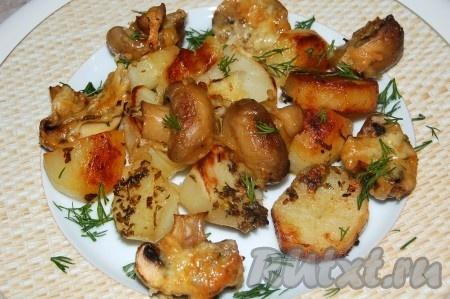 Как запечь грибы с сыром в духовке с фото