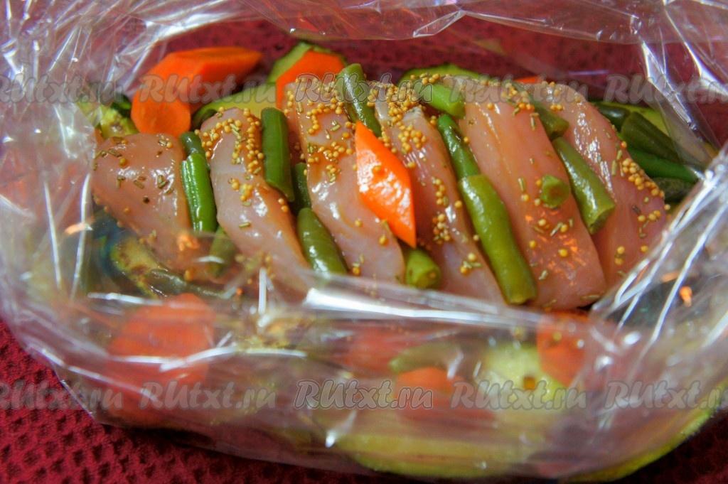Грудка с овощами в пакете