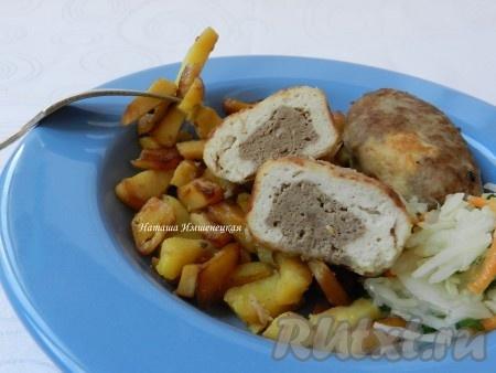 Котлеты из куриного филе и говядины