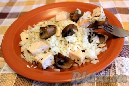 Рис с шампиньонами и курицей