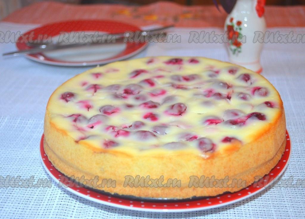 Пирог творожный с вишней рецепт с фото пошагово в духовке