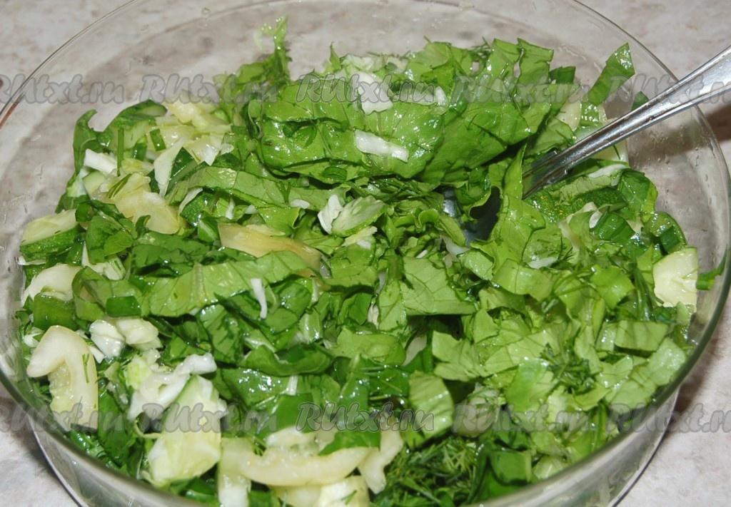 Салат из зелени рецепт приготовления с фото