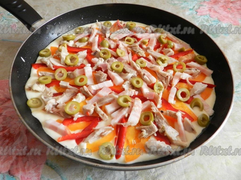пицца на сковороде без сыра за 10 минут