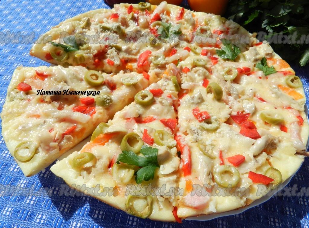 рецепт пицца на сковороде без кефира и сметаны