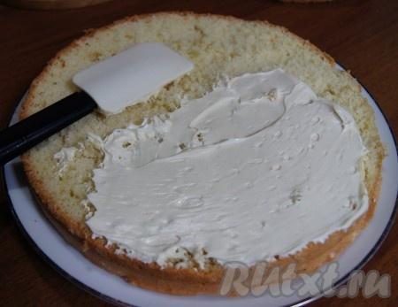 Промазываем каждый слой бисквита кремом.