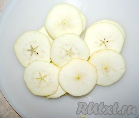 Если не вынимать сердцевину с семенами из яблок, то тогда нужно яблоки нарезать тонкими кружочками. Не заливать сахарным сиропом, а сразу выкладывать на противни и отправлять в духовку при температуре 60-80 градусов. И через 6-8 часов сушеные яблоки будут готовы.