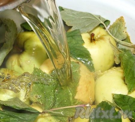 Довести заливку до кипения, снять образующуюся пену (от меда), выключить огонь, остудить немного, минут 15, и горячей заливкой залить яблоки.