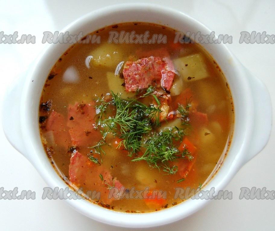 Суп из фасоли с колбасой рецепт с