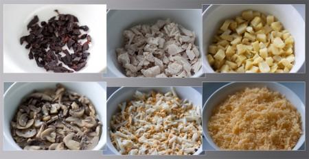 Салат укладывается слоями, каждый промазывается майонезом. Чередование слоев такое - нарезанный чернослив предварительно обдать кипятком), курочка нарезанная на мелкие кусочки отварная), картофель нарезанный кубиками сваренный), грибы обжаренные, яйца натертые на крупной терке сваренные), сыр натертый на мелкой терке.