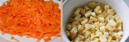 Отварите картофель и нарежьте кубиками. Свежую морковь натрите на крупной терке.