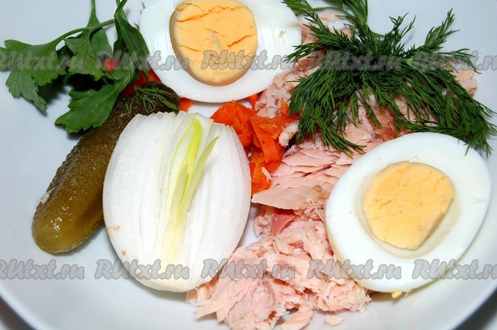 вкусный салат с копченой горбушей рецепт с фото