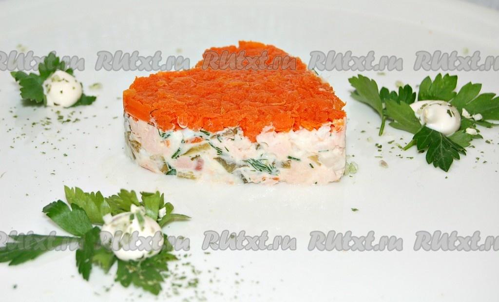 Салат с горбушей копченой