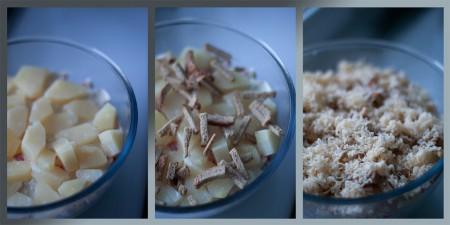 """Слейте сок с ананасов и выложите их в салатник. Далее - слой сухарей можно приготовить самим из батона, чеснока и растительного масла). И завершающим этапом служит натертый на мелкой терке сыр. Салат """"Коккиль"""" с курицей и чесночными сухариками собран, осталось убрать охлаждаться."""