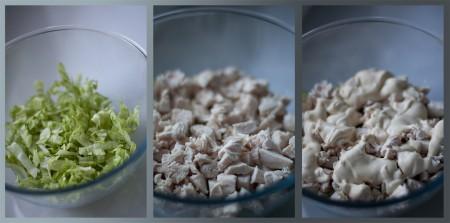Салат Айсберг нашинкуйте и выложите в салатник первым слоем. Сварите грудку и мелко порубите. Выложите грудку следующим слоем и смажьте соусом.