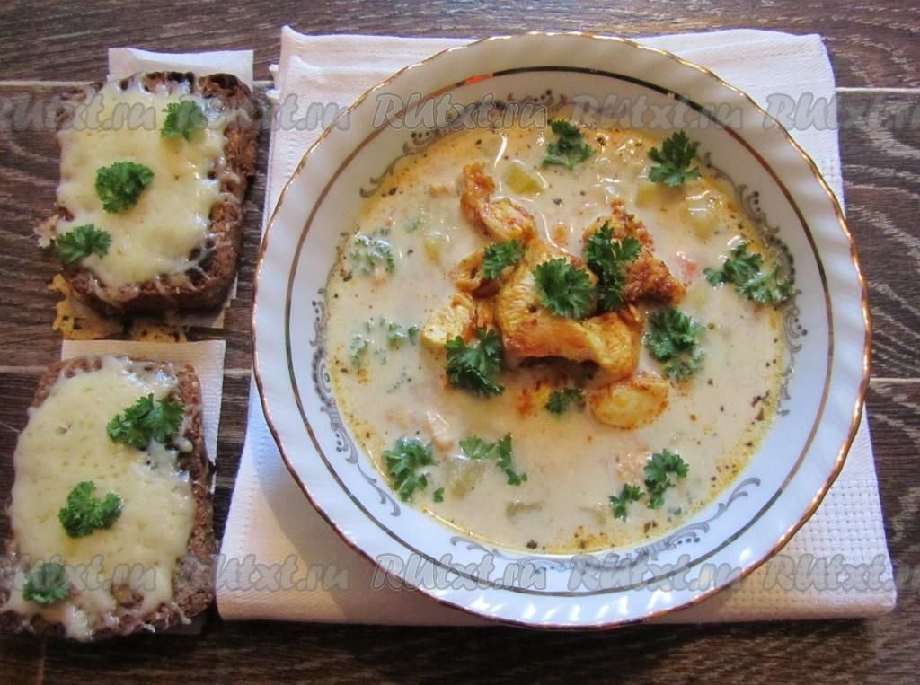 рецепт сливочный суп с грибами и курицей рецепт #11