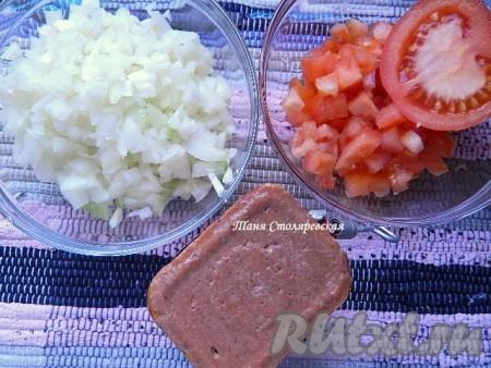 Тем временем занимаемся начинкой. Для ее приготовления постную говядину пропустите через мясорубку, репчатый лук и помидоры нарежьте, как можно мельче. Поместите все эти ингредиенты в блендер или миксер, добавьте соль и специи и измельчите хорошенько в мягкую однородную смесь. Мне было легче, так как я использовала готовые консервы, которые в арабских странах перетирают в паштет.
