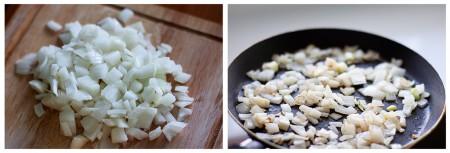 Для того чтобы приготовить соус, мелко нарежьте репчатый лук. Обжарьте его на сковороде до золотистого цвета.