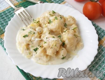 рецепт с цветной капустой в соусе в духовке