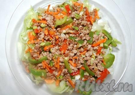 Поверх листового салата выложить со сковороды смесь из фарша и овощей. Она к этому времени будет уже остывшей, слегка теплой.