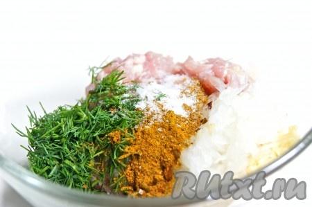 Из куриного филе приготовила фарш, добавила измельченные лук и чеснок, рубленный укроп, приправу для курицы, посолила и поперчила по вкусу. Тщательно перемешала.