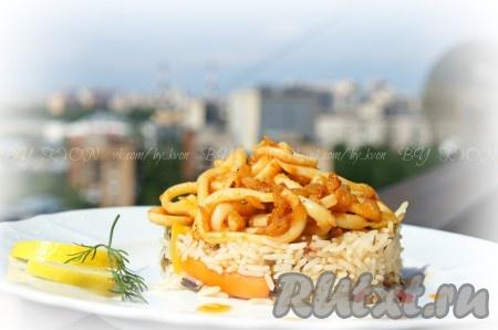 Салат с кальмарами и курицей пошагово 21