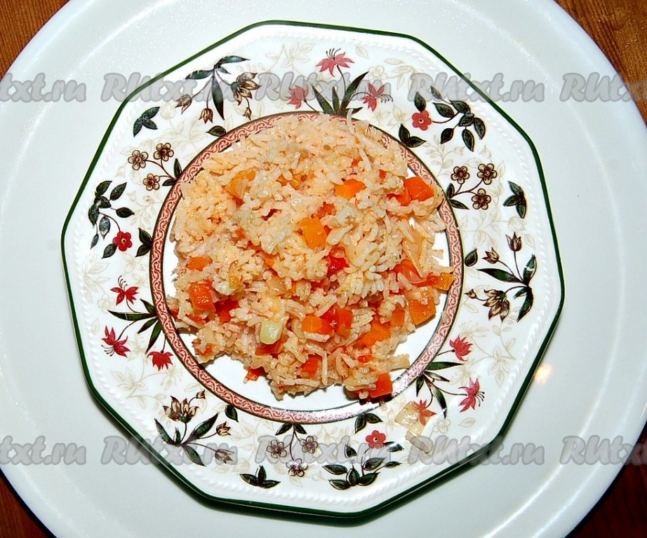 Блюдо рис с овощами
