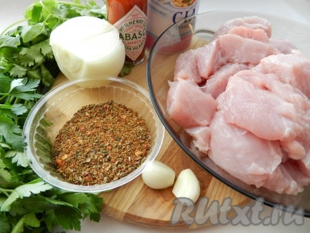 Ингредиенты для приготовления кебаба в аэрогриле