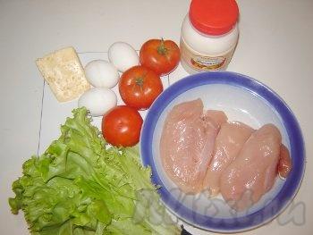 курица, салат, яйца, помидоры, сыр