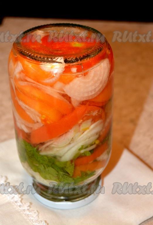 Салат на зиму из лука и помидор с