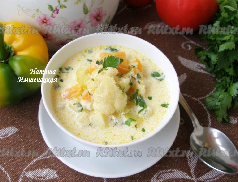 Крем суп из цветной капусты с курицей