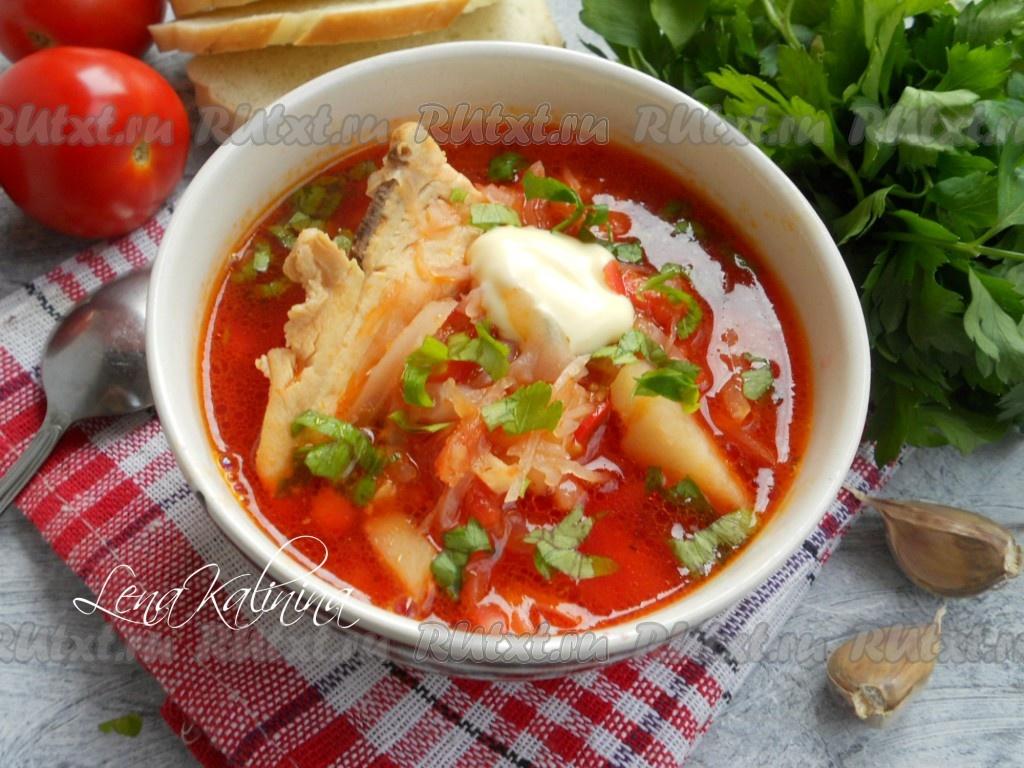 как приготовить украинский борщ с помидорами