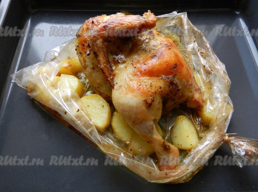 как запечь курицу с картошкой в духовке в пакете для запекания