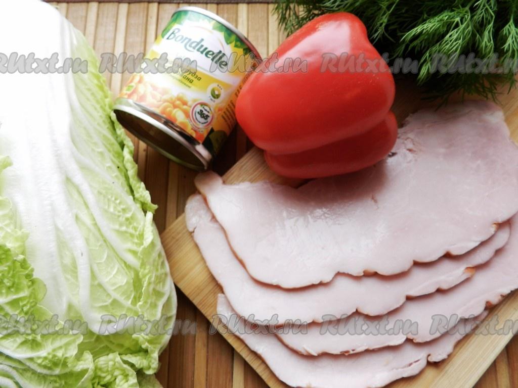 рецепт салата из ветчины и кукурузы и