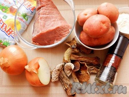 Ингредиенты для приготовления жаркого по-киевски