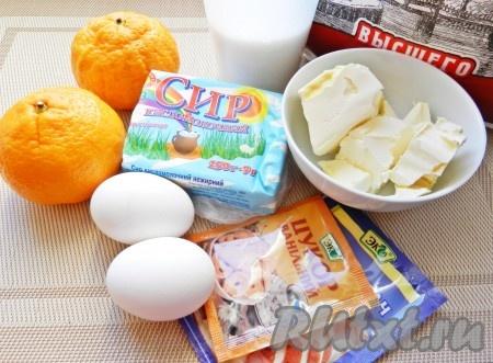 Ингредиенты для приготовления творожных кексов в формочках.