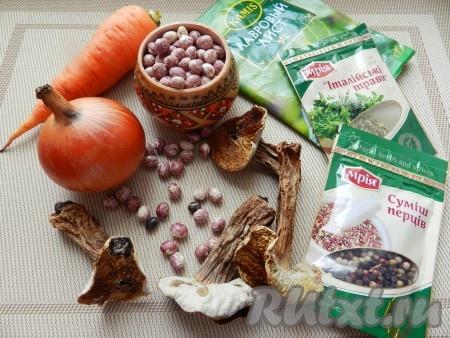 Ингредиенты для приготовления супа с фасолью и грибами