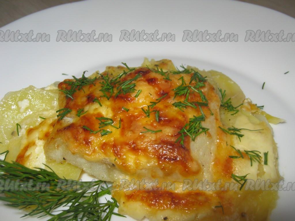 Рыба в духовке под шубой из картофеля