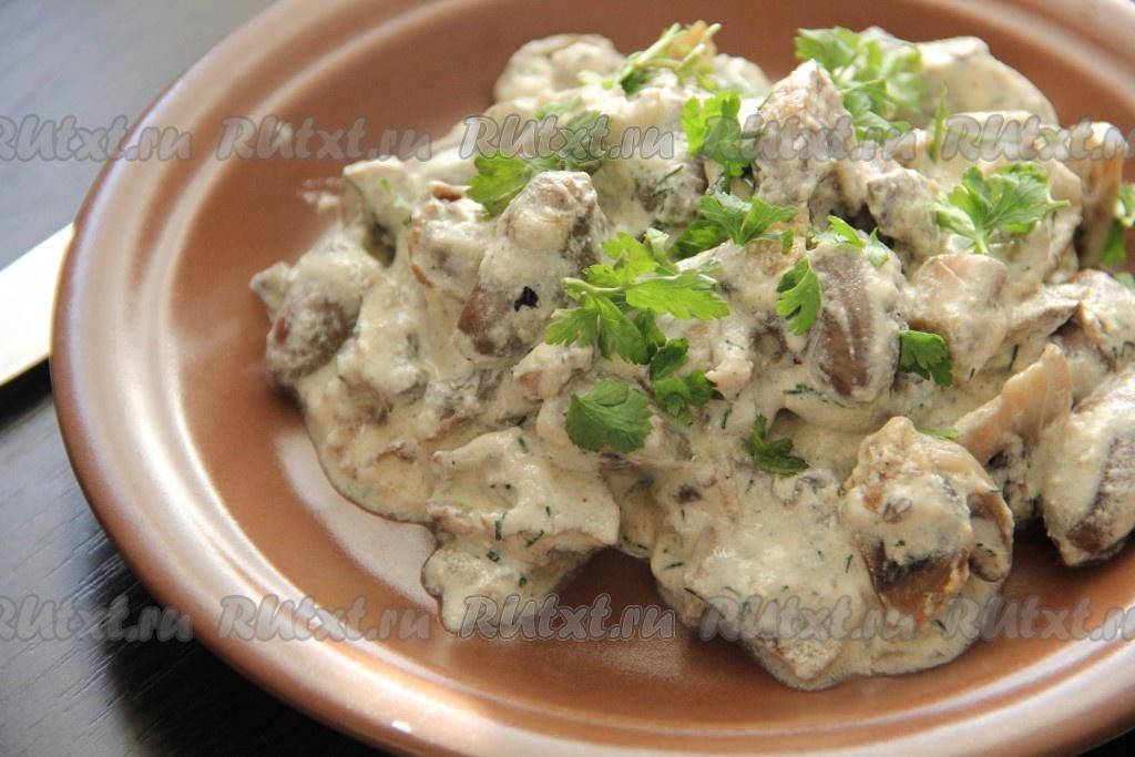 Блюда из куриных сердечек с шампиньонами #4