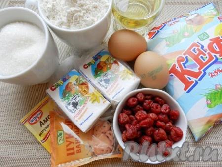 Ингредиенты для приготовления нежных кексов на кефире