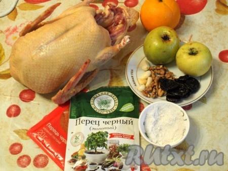 Ингредиенты для приготовления утки, фаршированной яблоками, апельсинами и черносливом