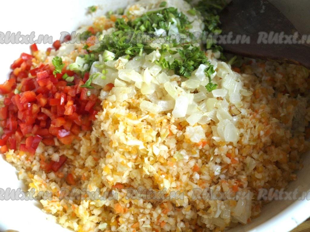 рецепт котлет из овощей и фарша в духовке