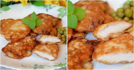 Затем выложить на салфетку, чтобы стек лишний жир. Вкусные отбивные из куриного филе в кляре можно подать с любым гарниром.