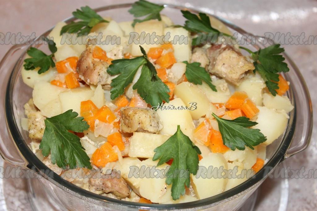 картофель со свининой в духовке в рукаве рецепт