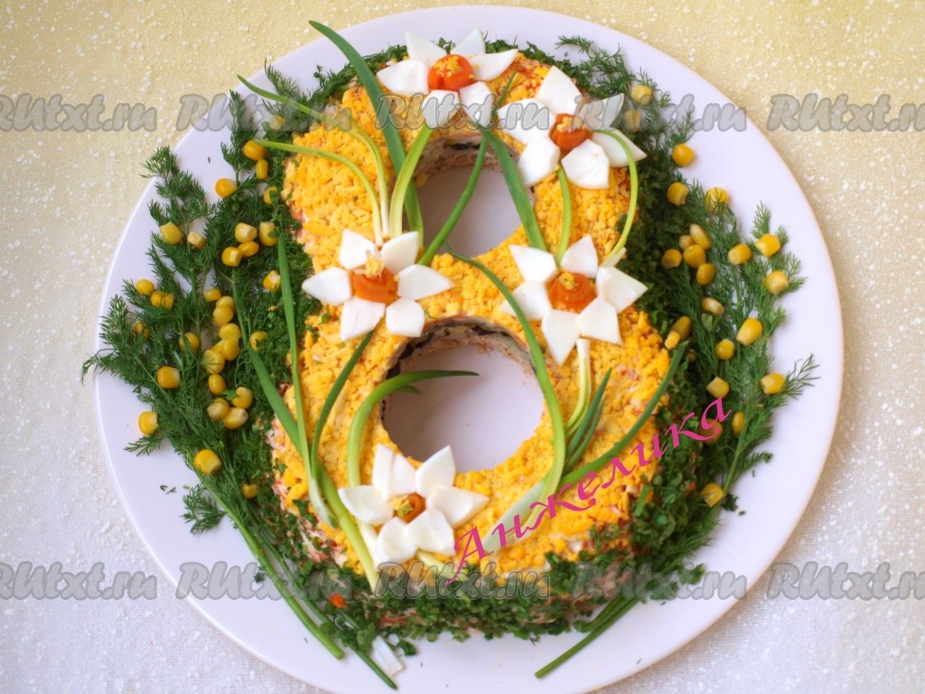 салат цветы к 8 марта рецепт с фото