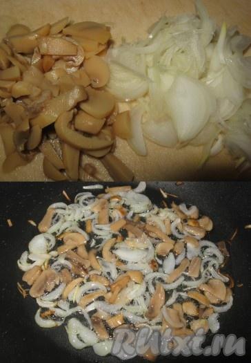 Грибы и лук нарезать соломкой и обжарить на разогретой с растительным маслом сковороде в течение 2-3 минут, охладить.