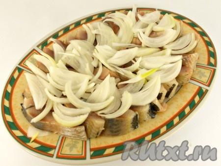 Лук репчатый очистить и порезать тонкими полукольцами. Выложить лук сверху селедки.